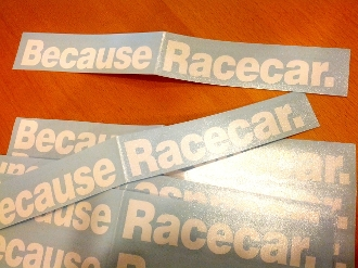 Because Racecar DECAL WHITE